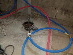 排水菅の工事